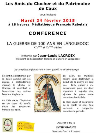 conference Caux JL Lacroix La Guerre de 100 ans en Languedoc