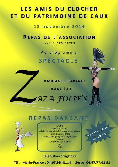 affiche repas association patrimoine spectacle zaza folie`s