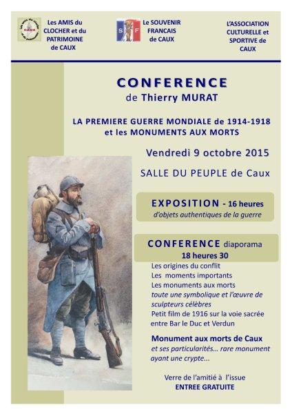 Caux conférence Thierry Murat guerre 14-18 et monuments aux morts