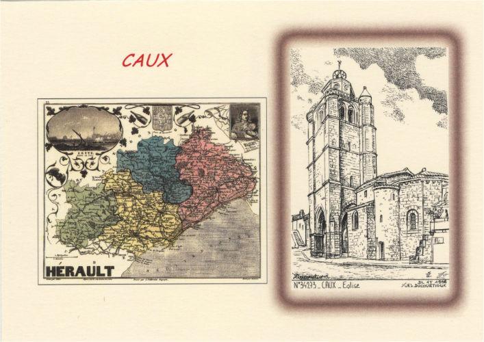 carte postale caux clocher église